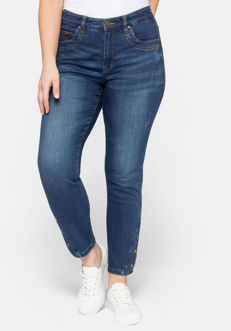 Schmale Stretch-Jeans KIRA in Ankle-Länge - blue Denim - 44