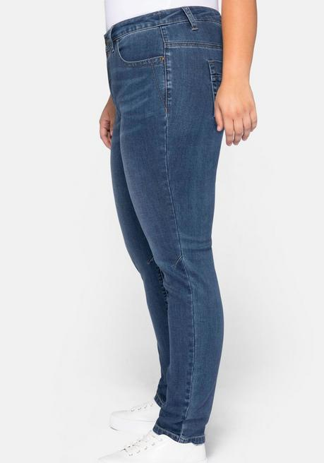 Schmale Stretch-Jeans KIRA mit Lyocell - blue Denim - 44