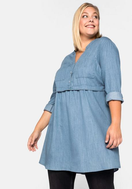 Jeanstunika in Longform mit hoch angesetzter Taille - light blue Denim - 44