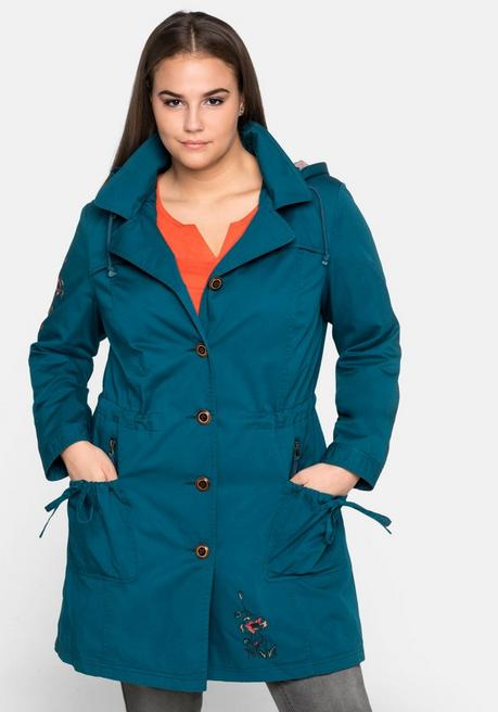 Outdoorjacke in Trenchcoat-Optik, mit Stickereien - dunkeltürkis - 44