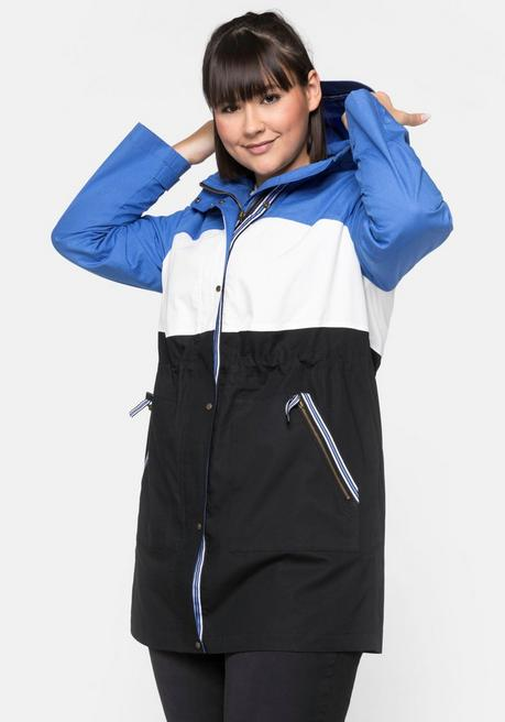 Outdoorjacke mit Kapuze in Colour-Blocking-Optik - schwarz-blau - 44