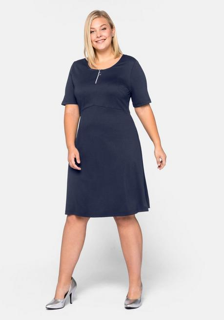 Kleid Basic aus Interlock in kniefreier Länge - marine - 44