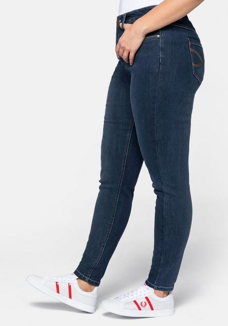 Jeans Skinny in 5-Pocket-Form mit Kontrastnähten - dark blue Denim - 44
