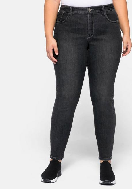 Jeans Skinny in 5-Pocket-Form mit Kontrastnähten - black Denim - 44