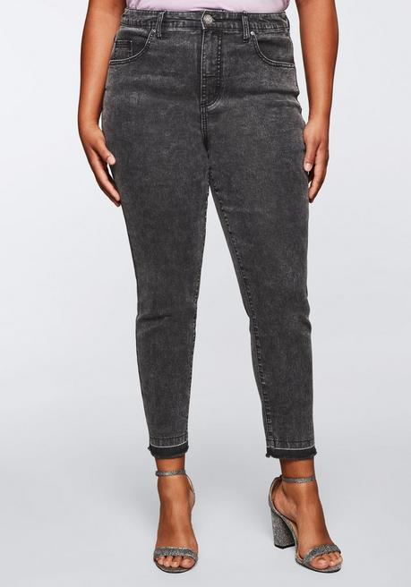 Jeans aus Power Stretch; Moonwashed Optik - grey Denim - 44
