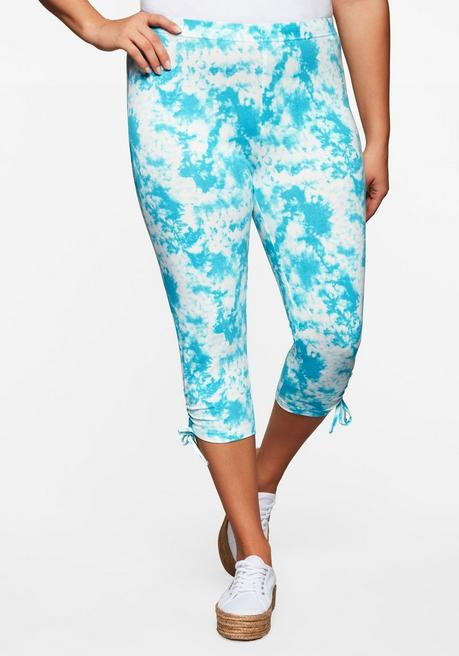 Leggings in Batik-Optik, 3/4-Länge mit Schnürung - türkis - 44