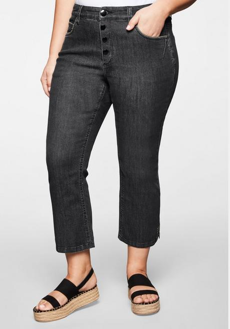 Bootcut Jeans in 7/8-Länge mit Stickerei am Saum - black Denim - 44