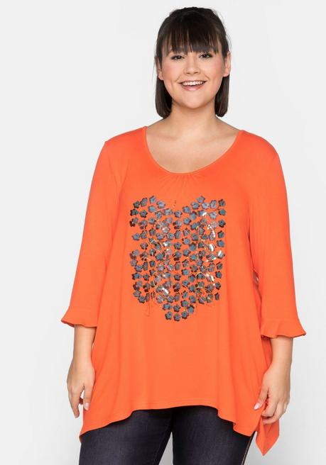 Shirt in A-Linie mit Glitzerdruck und Pailletten - orange - 44/46