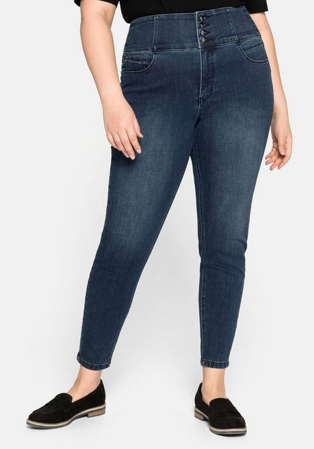 Skinny Power-Stretch-Jeans ANNE, High-Waist - dark blue Denim - 44