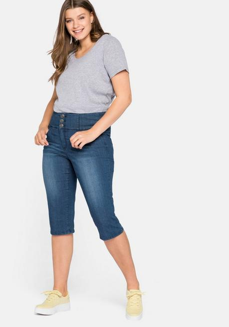 Schmale High-Waist-Jeans in Caprilänge - blue Denim - 44
