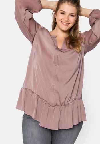 Sheego Bluse Tunika Shirt rosa Ton große Größe mit Schluppe NEU 914