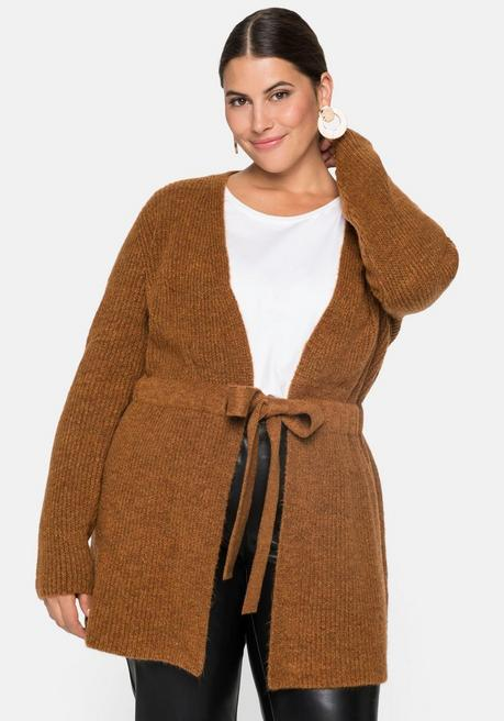 Strickjacke in offener Form mit Bindeband - cognac - 44/46
