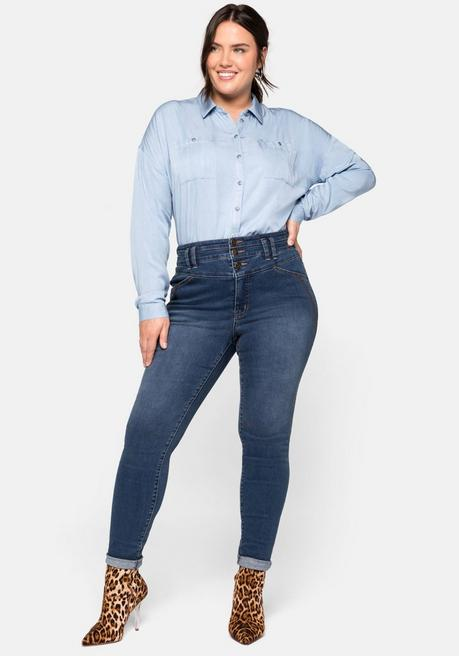 Skinny Jeans in High-Waist-Form mit Ziernähten - blue Denim - 44