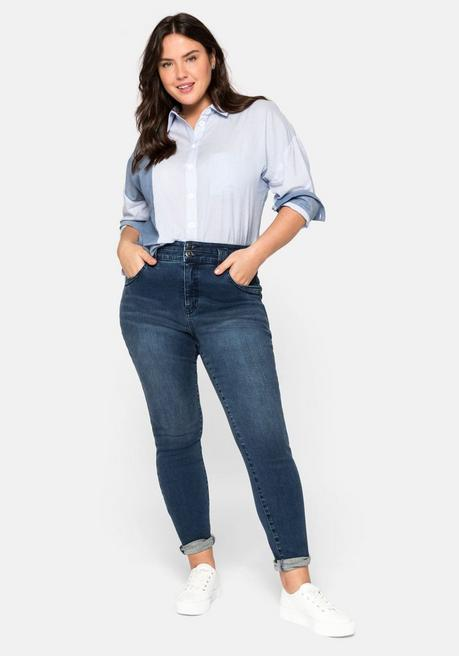 Skinny Jeans mit High-Waist-Bund, Bodyforming-Effekt - dark blue Denim - 44