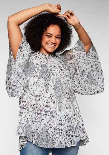 943 Sheego Tunika Bluse Shirt Gr 494 44 bis 54 Grau Biesen Zipfelform