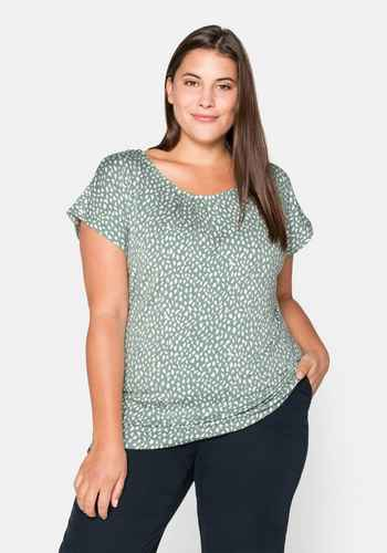 706 Sheego Shirt Kurzarm Lila Ton Gr 40//42 bis 56//58 Übergröße