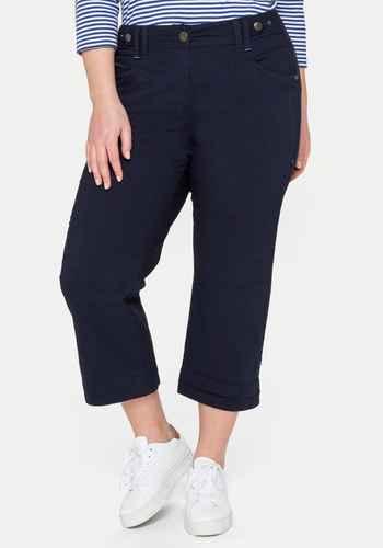 Sheego Damen Jeans Stoffhose 7//8 Hose Gr 40 bis 56 blau weiß gestreift 074