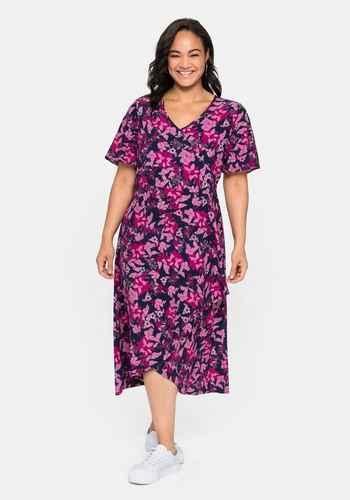 44 bis 58 Pink Rosa gemustert Sheego Kleid Jerseykleid Shirtkleid Gr 423
