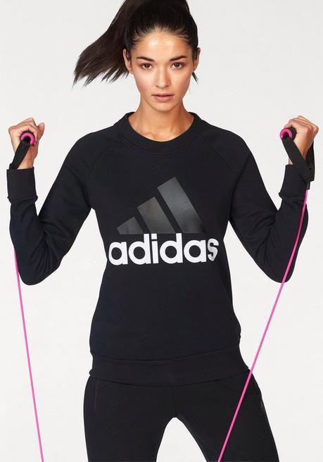 adidas Performance Sweatshirt »ESSENTIAL LIN SWEAT« - schwarz-weiß - L