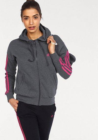 Adidas Performance Kapuzensweatjacke »essentials 3 Stripes Fullzip Hoodie« Auch In Großen Größen Schwarz-pink