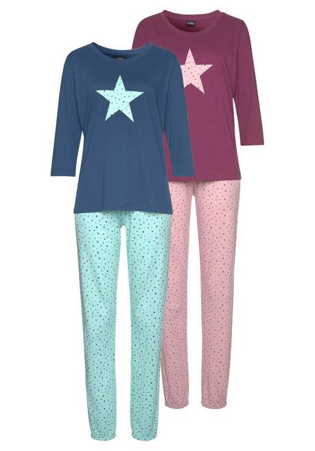 Vivance Dreams Pyjama (2 Stück) - bordeaux+marine - 44/46