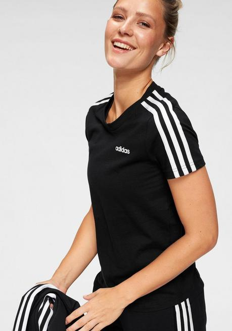 adidas T-Shirt »ESSENTIALS 3 STRIPES SLIM TEE« - schwarz - L