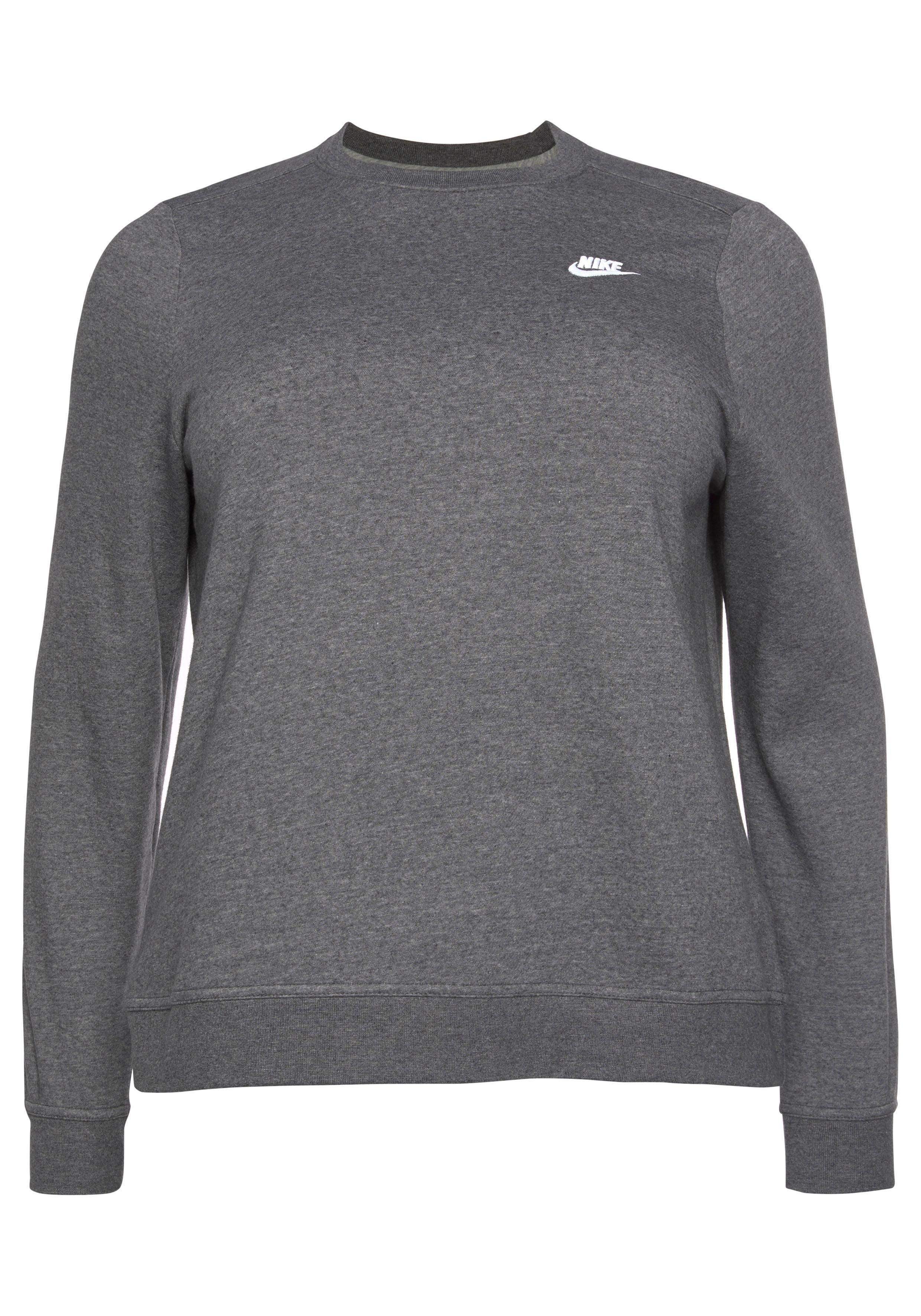 Große Größen: Nike Sportswear Sweatshirt »WOMEN NIKE SPORTSWEAR CLUB CREW FLEECE PLUS SIZE«, grau meliert, Gr.XL-XXXL