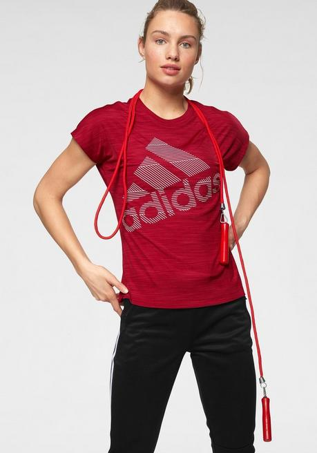 adidas Performance Funktionsshirt »SHORT SLEEVE BATCH OF SPORTS LOGO TEE« - dunkelrot - L