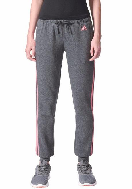 adidas Performance Jogginghose »ESSENTIALS 3 STRIPES PANT CUFFED« - grau-pink - L